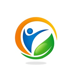 People health fitness spa vegetarian logo vector
