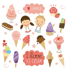 Ice cream sweet collection vector