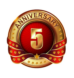 5 anniversary golden label with ribbon vector image vector image