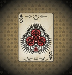 Ace of clubs poker cards old look vintage vector