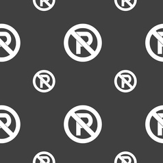 No parking icon sign seamless pattern on a gray vector