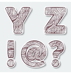 Set of capital letters y z from the alphabet vector