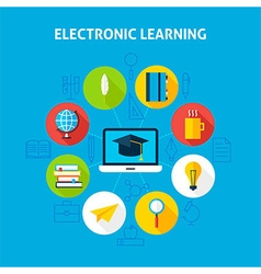 Electronic learning infographic concept vector