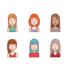 avatar people female group profile woman vector image
