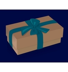 Beautiful beige gift box with purple bow on blue vector image