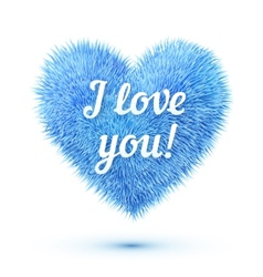 Blue fluffy heart with I love you sign vector image