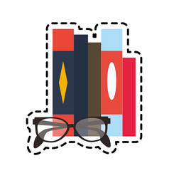 Books and glasses icon image vector