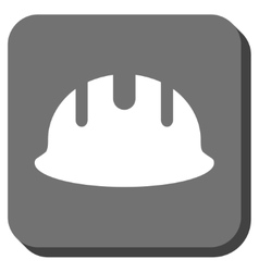 Builder hardhat rounded square icon vector
