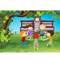 Children circle around in the park vector image vector image