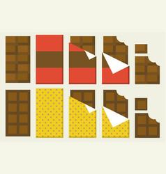 chocolate bar icon set vector image vector image