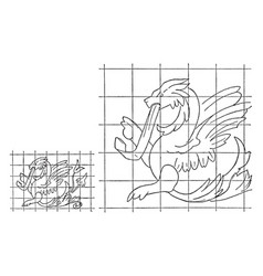 Enlargement of image by squares work surface vector