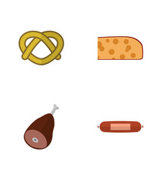 flat icon eating set of cheddar slice kielbasa vector image vector image