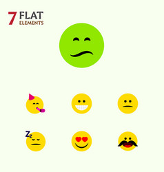 Flat icon face set of love party time emoticon vector