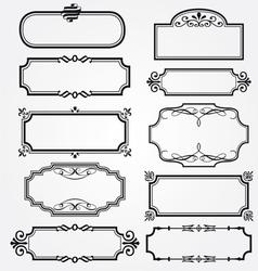 Frame set ornamental vintage decoration vector