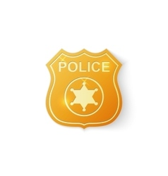 Gold police badge icon on white background vector