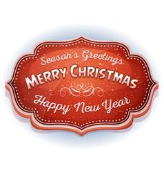 Happy new year and seasons greetings badge vector