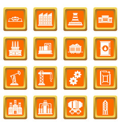 Industry icons set orange vector