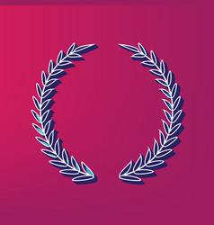 Laurel wreath sign blue 3d printed icon vector