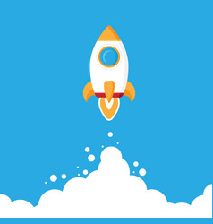 minimalistic rocket launch flat icon rocket vector image