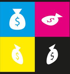 Money bag sign white icon vector