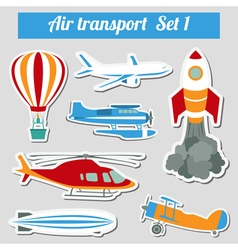 Public transportation air transportation Icon set vector image