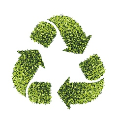 Recycle symbol with leaf texture isolated on white vector image vector image