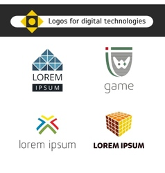 Set of logos for games and digital technology vector