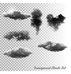 Set of transparent clouds and smoke vector image vector image