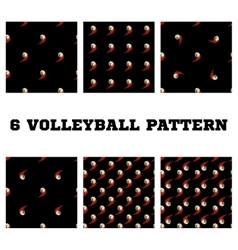 Set seamless pattern volleyball ball vector