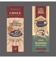 Set with vintage retro banners with grill vector