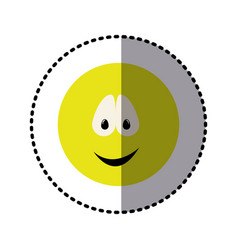 sticker colorful emoticon smile face expression vector image