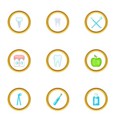 teeth health icons set cartoon style vector image