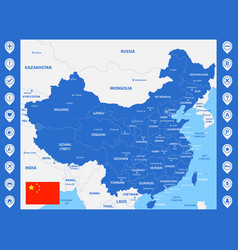 The detailed map of china with regions or states vector