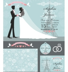 Wedding invitation setbridegroomparis winter vector