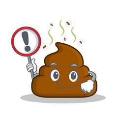 With sign poop emoticon character cartoon vector