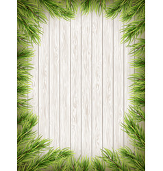 wooden background with christmas fir tree eps 10 vector image