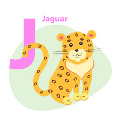zoo abc letter with cute jaguar cartoon vector image