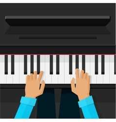 Pianist artist hands playing on piano keys vector