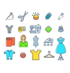 Sewing tools flat outline icons vector
