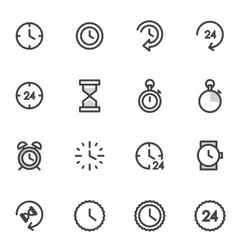 Set of utline icons indicating the time vector