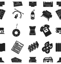Typography pattern icons in black style Big vector image