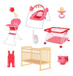 Bedroom furniture for newborn girl on white vector