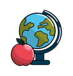 earth plenet desk with apple fruit vector image