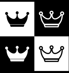 King crown sign  black and white icons and vector