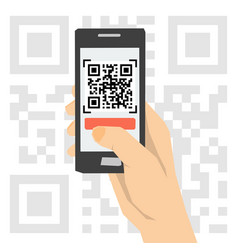 Qr code scanning - hand with phone vector