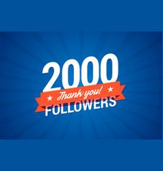 2000 followers card vector