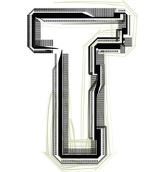 Technological font letter t vector