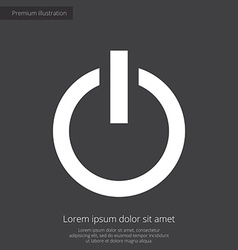 Power on premium icon white on dark background vector