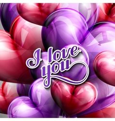 I love you retro label and balloon hearts vector