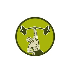 Weightlifter lifting barbell circle retro vector